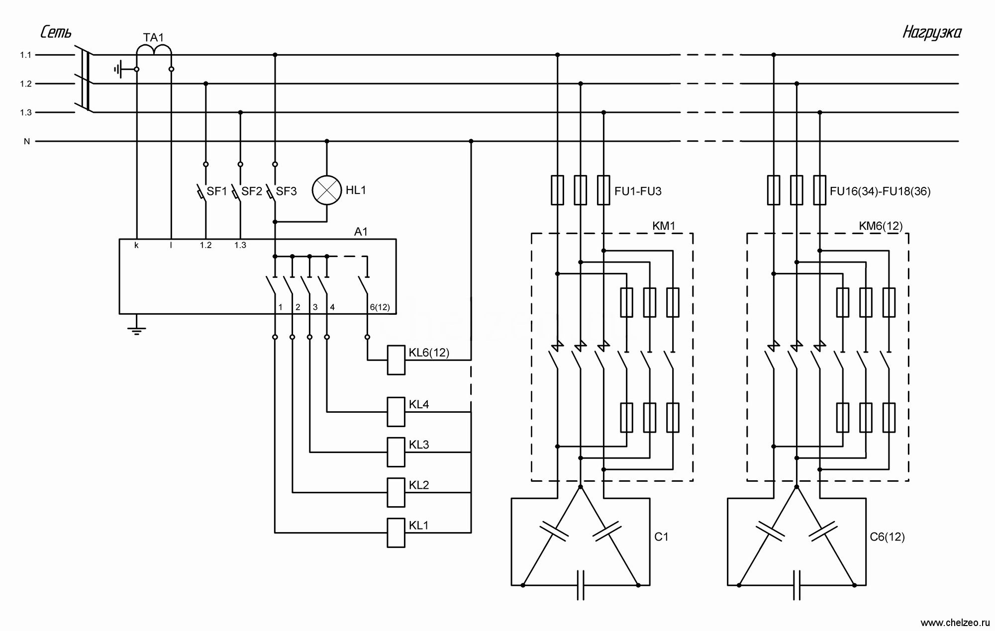 Конденсаторная установка подключается в параллель к главному шинопроводу силового трансформатора.