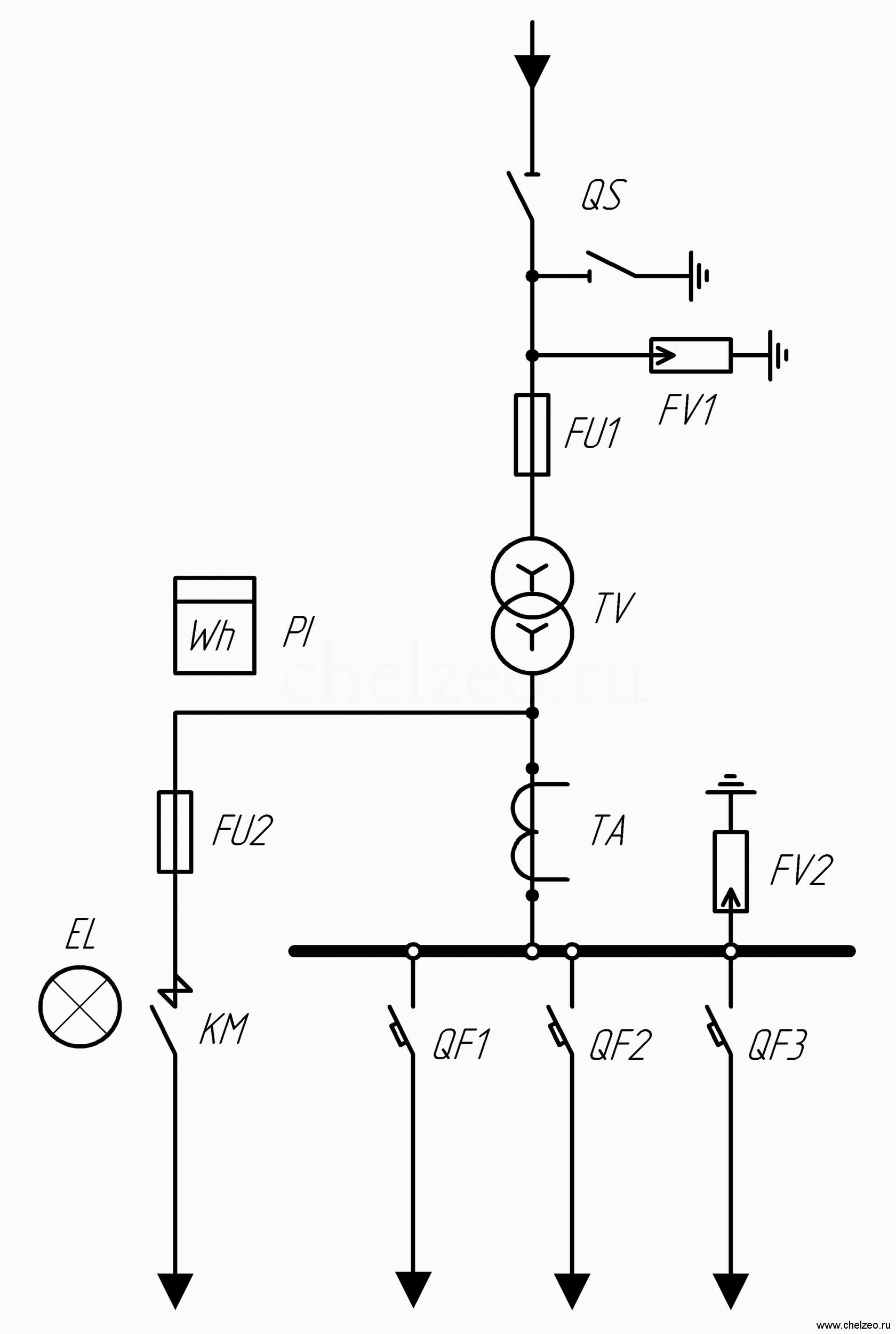 Условные обозначения на однолинейных схемах ктп6